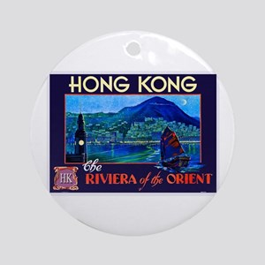 Hong Kong Travel Poster 1 Ornament (Round)