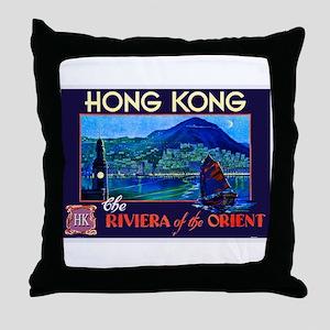 Hong Kong Travel Poster 1 Throw Pillow
