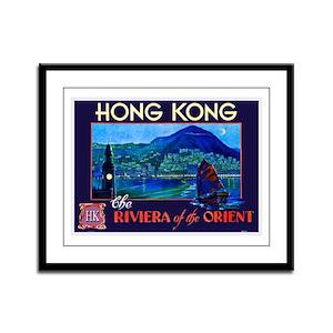 Hong Kong Travel Poster 1 Framed Panel Print