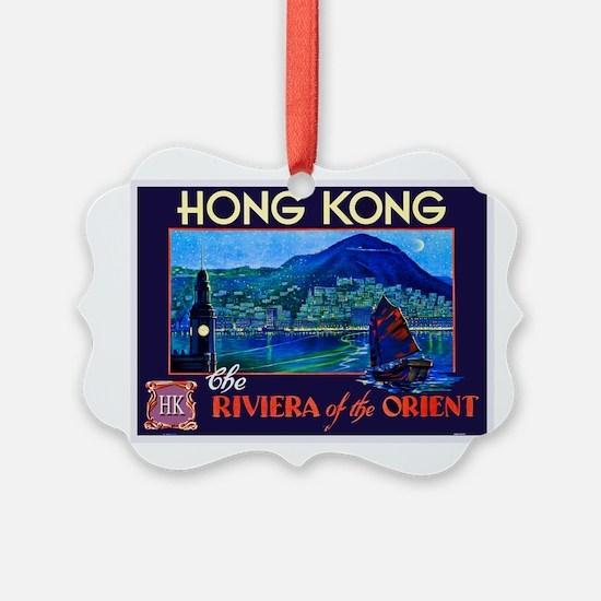 Hong Kong Travel Poster 1 Ornament