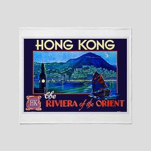 Hong Kong Travel Poster 1 Throw Blanket