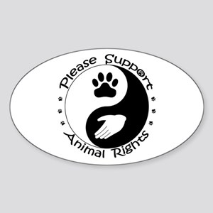 Please Support Animal Rights Sticker (Oval)