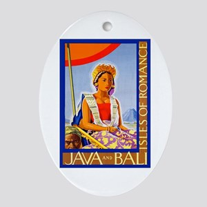 Java Travel Poster 2 Ornament (Oval)