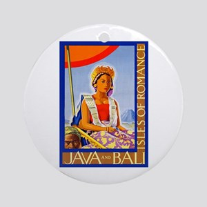 Java Travel Poster 2 Ornament (Round)