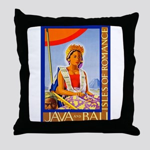 Java Travel Poster 2 Throw Pillow