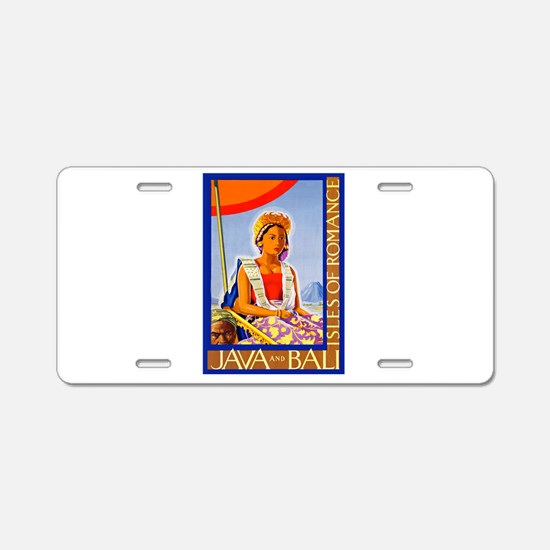 Java Travel Poster 2 Aluminum License Plate