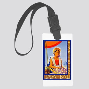 Java Travel Poster 2 Large Luggage Tag