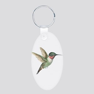 Hummingbird Aluminum Oval Keychain