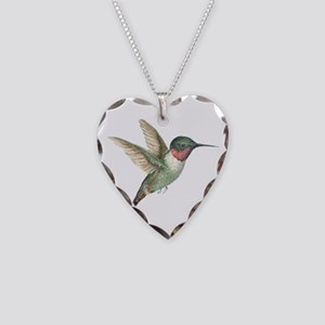 Hummingbird Necklace Heart Charm