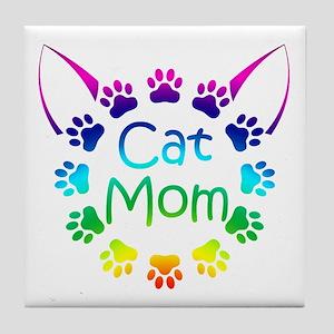 """Cat Mom"" Tile Coaster"