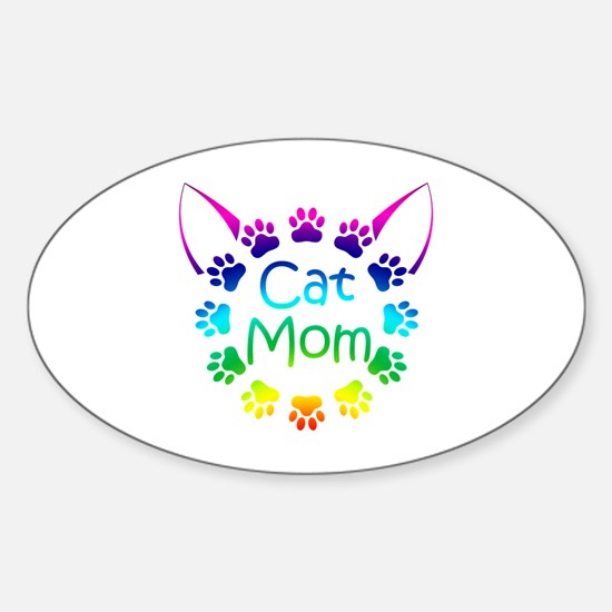 """Cat Mom"" Sticker (Oval)"
