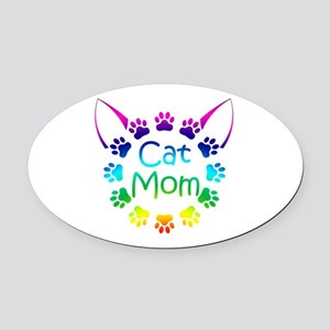 """Cat Mom"" Oval Car Magnet"
