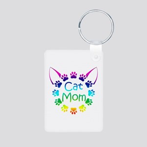 """Cat Mom"" Aluminum Photo Keychain"