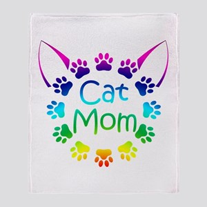 """Cat Mom"" Throw Blanket"