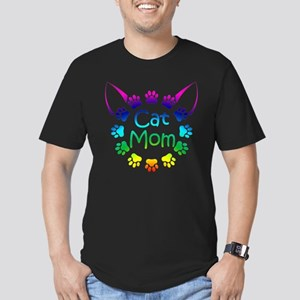 """Cat Mom"" Men's Fitted T-Shirt (dark)"