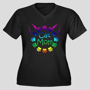 """Cat Mom"" Women's Plus Size V-Neck Dark T-Shirt"