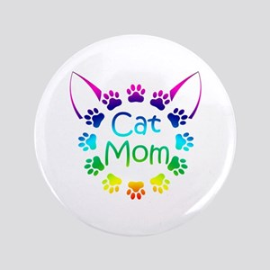 """Cat Mom"" 3.5"" Button"