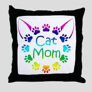 """Cat Mom"" Throw Pillow"