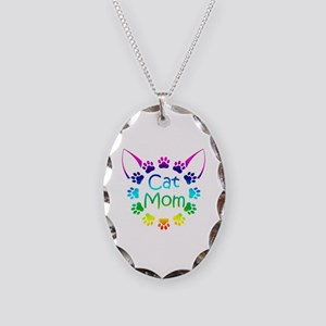 """""""Cat Mom"""" Necklace Oval Charm"""