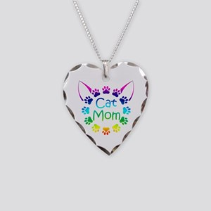 """Cat Mom"" Necklace Heart Charm"