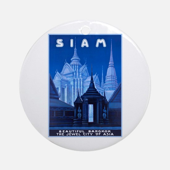 Siam Travel Poster 1 Ornament (Round)