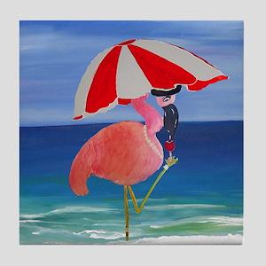 Flamingo Beach Wine Tile Coaster