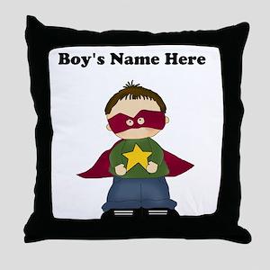 Personalized Super Hero Boy Throw Pillow