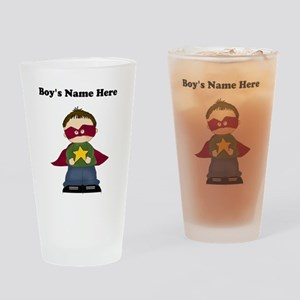 Personalized Super Hero Boy Drinking Glass