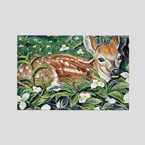 Rectangle Magnet of a fawn resting in Trillium