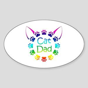 """Cat Dad"" Sticker (Oval)"