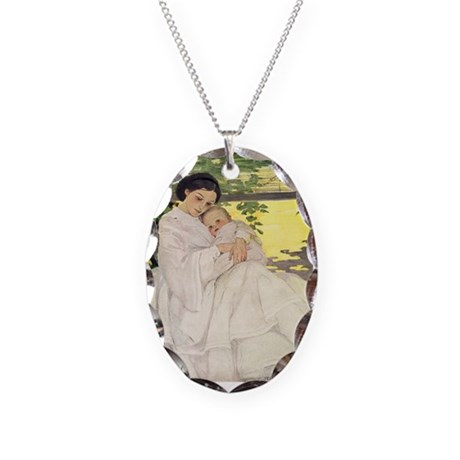 Mother's Day Necklace Oval Charm
