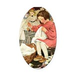 Little Girl Sewing Oval Car Magnet