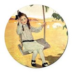 Girl on a Swing Round Car Magnet