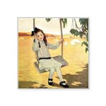 Girl on a Swing Square Sticker 3