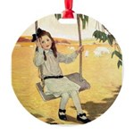 Girl on a Swing Round Ornament