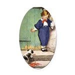 A Boy and His Puppy Oval Car Magnet