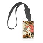 Little Girl Sewing Small Luggage Tag