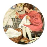 Little Girl Sewing Round Car Magnet