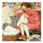 Little Girl Sewing Square Car Magnet 3