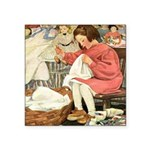 Little Girl Sewing Square Sticker 3