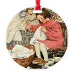 Little Girl Sewing Round Ornament