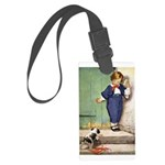 A Boy and His Puppy Large Luggage Tag