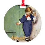 A Boy and His Puppy Round Ornament