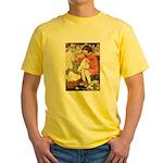 Little Girl Sewing Yellow T-Shirt