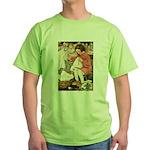 Little Girl Sewing Green T-Shirt
