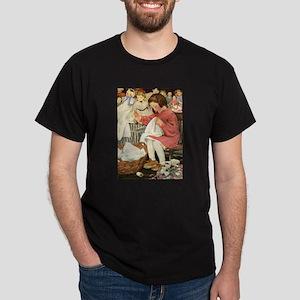 Little Girl Sewing Dark T-Shirt
