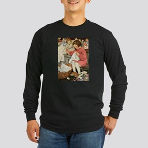 Little Girl Sewing Long Sleeve Dark T-Shirt