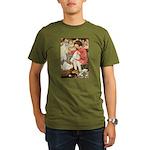 Little Girl Sewing Organic Men's T-Shirt (dark)