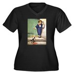 A Boy and His Puppy Women's Plus Size V-Neck Dark