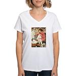 Little Girl Sewing Women's V-Neck T-Shirt